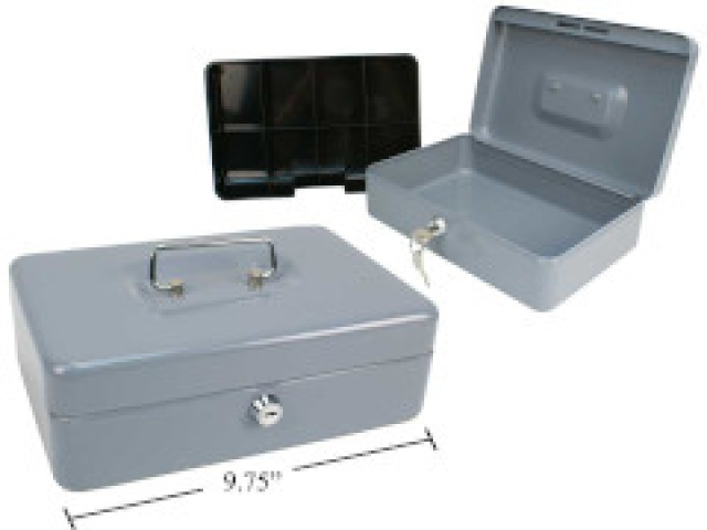 Cash Box Heavy duty grey 9.75x6.5x3 inch
