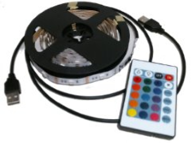 LED strip light 2 pc 2 metres each USB powered 2.5W 5V RGB with remote